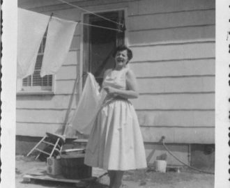 My favorite picture of my mother. Handing laundry in three inch heels. What a warrior.