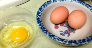 Beautiful eggs from the farm. I use chicken eggs in cookie recipes.
